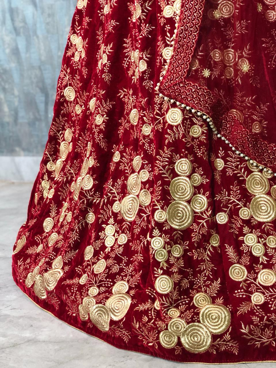 Bridal Wear Red Colour Original 9000 Micro Velvet Lehenga Choli Rj Fashion