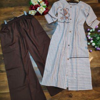 Cotton Embroidered kurta Plazo suit set - Size - XXL-VT309105-3