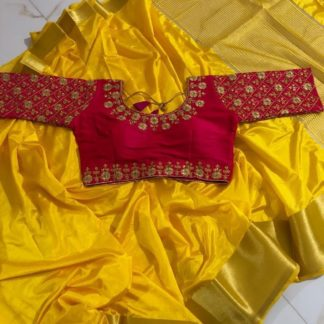 Wedding  Wear Yellow Colour Pure Tusser Silk saree