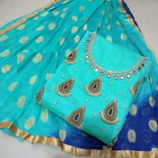 Bay Sea Green Color Chanderi Silk Handwork Embroidered Dress Material For Women