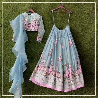 Function Wear Awesome Suruchi Grey Pink Semi Stitched Lehenga-MINIAB289