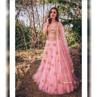 Wedding Wear Awe-inspiring Rose Pink Designer Semi Stitched Lehenga-MINIAB290
