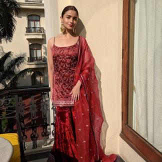 Ithnic Wear Grand Alia Maroon Velvet Sharara Semi Stitched Sharara-MINIAB294