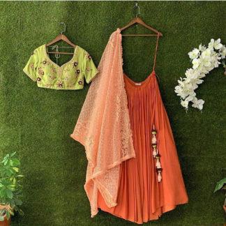 Bollywood Style Princely Kesariya Semi Stitched Lehenga-MINIAB306