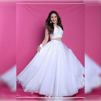Ithnic Wear Fine Madhuri White Semi Stitched Lehenga-MINIAB308