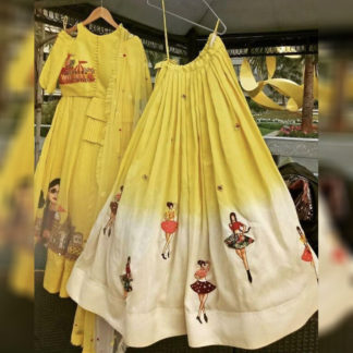 Indian Wear Dazzling Dancing Doll Yellow Semi Stitched Lehenga-MINIAB314
