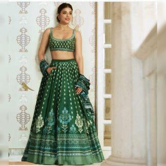 Bollywood Style Splendiferous Napak Green Semi Stitched Lehenga-MINIAB323
