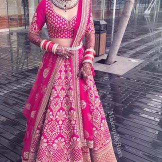 Pastel Pink Colored PartyWear Banglorey Satin Lehenga Choli With Net Duppata-VT20426091