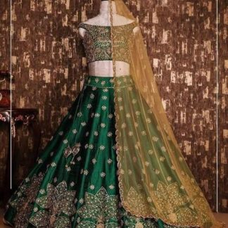 Marvellous Green Colored Party Wear Tapeta Silk With Embroidered Work Lehenga Choli-VT1159DVD9054G