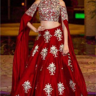 Demanding Red Colored Designer Party Wear Tapeta Silk With Embroidered Work Lehenga Choli-VT1159DVD9047R