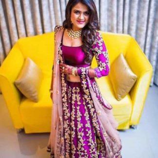 Groovy Light Purple Colored Designer Tapeta Silk With Embroidered Work Party Wear Lehenga Choli-VT1159DVD9053C