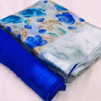 Attractive Blue Colored  Linen Flower Print With Sartin Exclusive Border Saree And Running Blouse For Women-VT3022106A