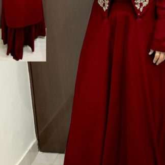 Demanding Red Colored Rayon With Hand Work High-Low Crop Top With Skirt With Stylish Sleeves & Hand Work in Front For Function Wear-VT2123105A