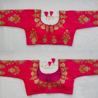 Beautiful Rani Colored Fentam Silk With Gold Zari Dori Thread Work Full Stitched Blouse For Women-VT3062102B