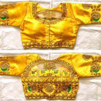 Yellow Colored Designer Malbari Silk With Zari Stone Hand Work Ready Made Blouse For Wedding Wear-VT3062104J