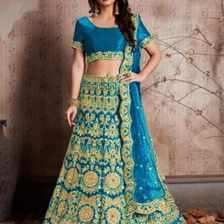 Classy Blue Colored Velvet Silk With Embroidered Lehenga Choli For Wedding Wear