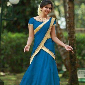 Glowing Light Blue Colored Tapeta Silk With Golden Border Lehenga Choli For Wedding Wear
