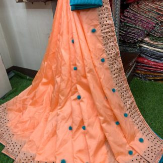 Orange & Blue Pure Kashmiri Silk Saree And Designer Contrast Banglori Original Diamond Sleeves Blouse in India