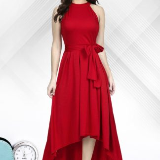 Shattering Red Colored Rayon Designer Ready Made One Piece