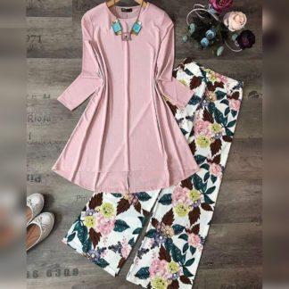 Marvellous Baby Pink American Crap Digital Print Plazo & Top