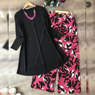 Stunning Black & Pink American Crap Digital Print Plazo & Top