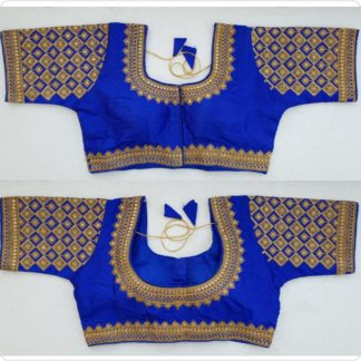 Ravishing Royal Blue Silk Handwork Thread And Coding Work Ready Made Blouse