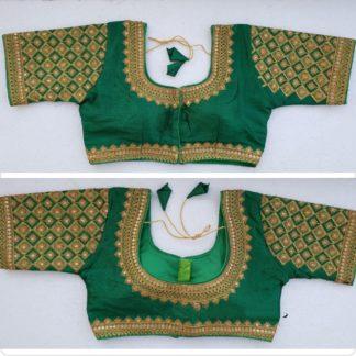 Striking Dark Green Silk Handwork Thread And Coding Work Ready Made Blouse