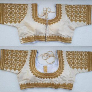 Dazzling Off White Silk Handwork Thread And Coding Work Ready Made Blouse