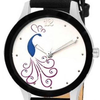 Stupendous white black Color PU leather Belt Girls Watch