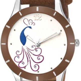 Stupendous coffee Color PU leather Belt Ladies Watch