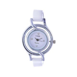 Wondrous white Color plain PU leather Belt Womens Watch