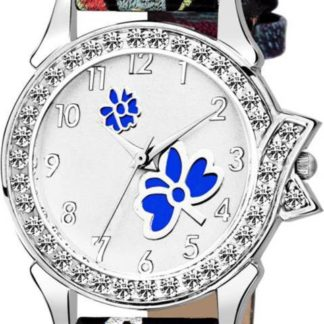 Staggering white black printed Color PU leather Belt Womens Watch