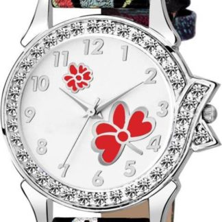 Spectacular white black printed Color PU leather Belt Girls Watch