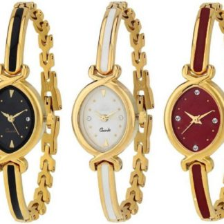 Pre-eminent black white maroon combo Color gold metal Belt Womens Watch