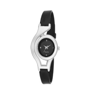 Outstanding black Color PU leather Belt Ladies Watch