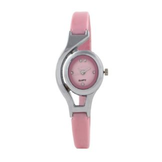 Noteworthy pink Color PU leather Belt Womens Watch