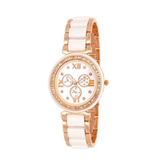 Memorable white Color metal rubber Belt Ladies Watch