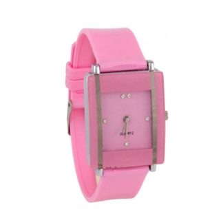 Marvellous pink Color PU leather Belt Girls Watch