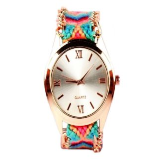 Extraordinary multicolor  Color threadweaving belt Belt Womens Watch