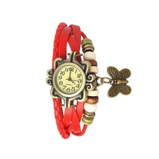 Awe-inspiring red Color PU leather Belt Womens Watch