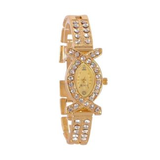 Astonishing gold Color metal with diamond Belt Girls Watch
