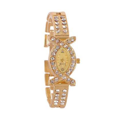 Astonishing gold Color metal with diamond Belt Girls Watch