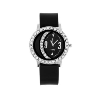 Amazeballs black Color PU leather Belt Girls Watch