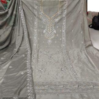 Ravishing Grey Colored Designer Cinnon Embroidered Diamond Work Salwar Suit