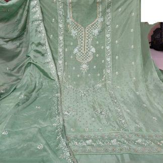 Devastating Pista Colored Cinnon Embroidered Diamond Work Salwar Suit