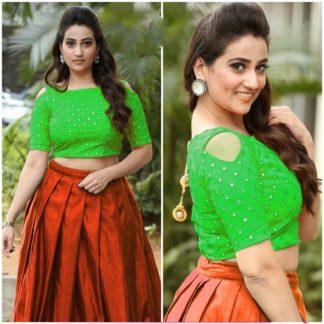 Charming Green & Orange Designer Mirror Work Banglori Silk Lehenga Choli