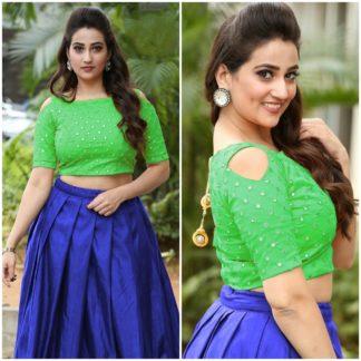 Knockout Green & Royal Blue Designer Mirror Work Banglori Silk Lehenga Choli