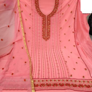 Amazeballs Peach Colored Georgette Embroidered Sequence Work Salwar Suit