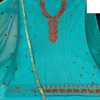 Smashing Sea Green Colored Georgette With Embroidered Sequence Salwar Suit