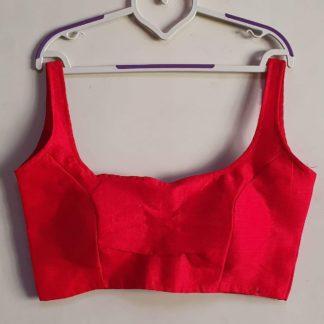Smashing Red Phantom Silk Ready Made Blouse